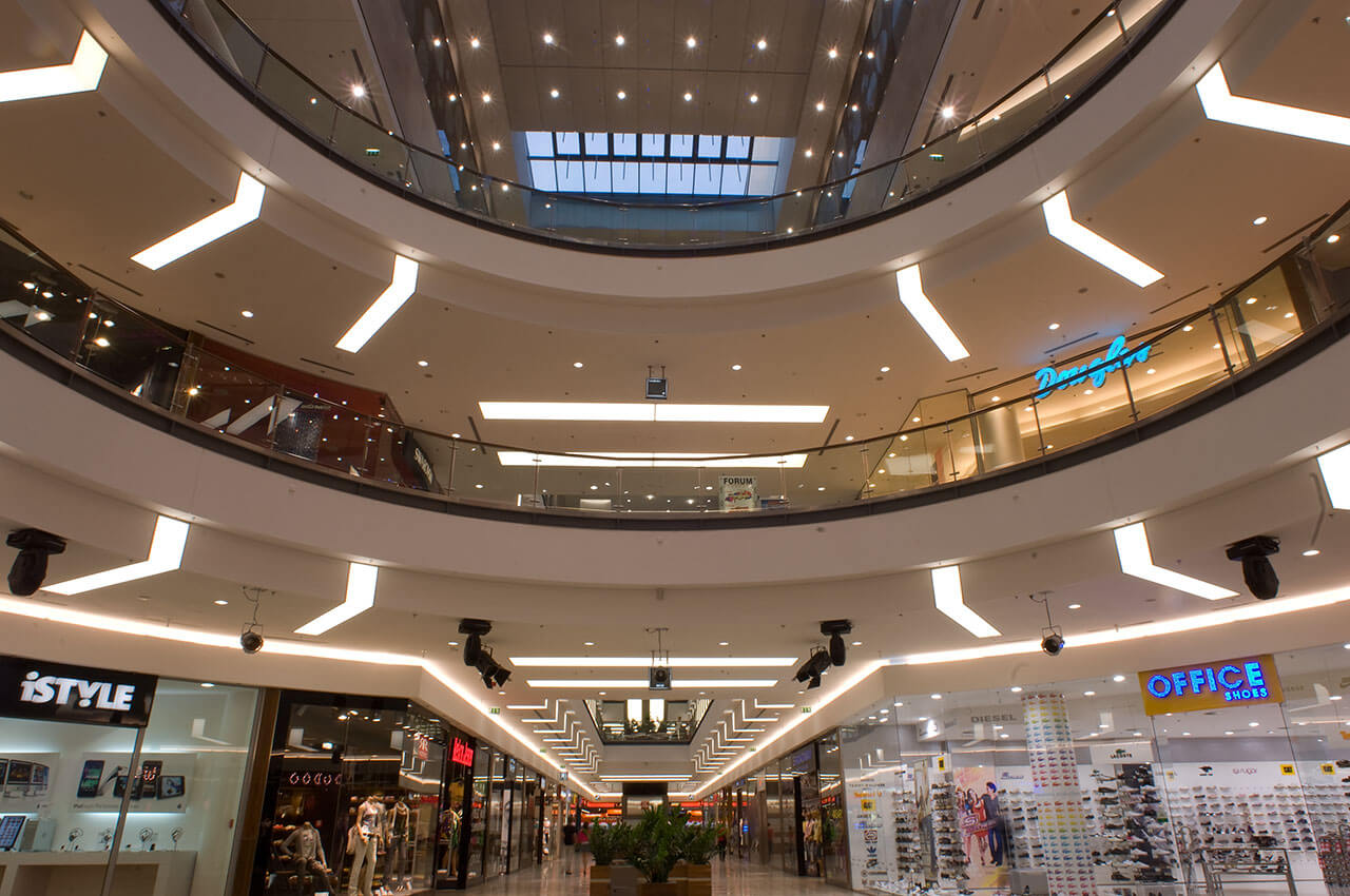 Mall lighting with stretched thin foil surfaces