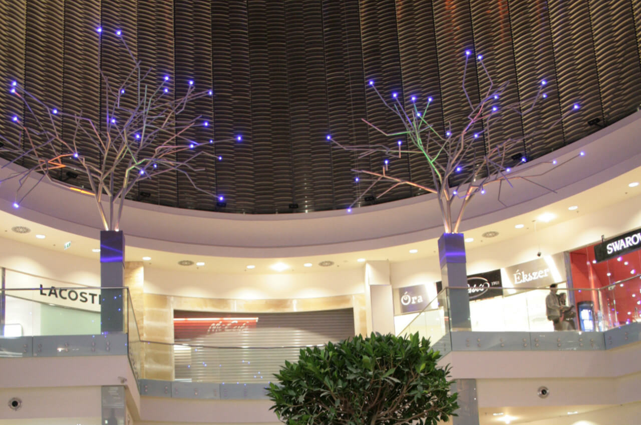 """LED metal trees"" in Arena Plaza Mall"